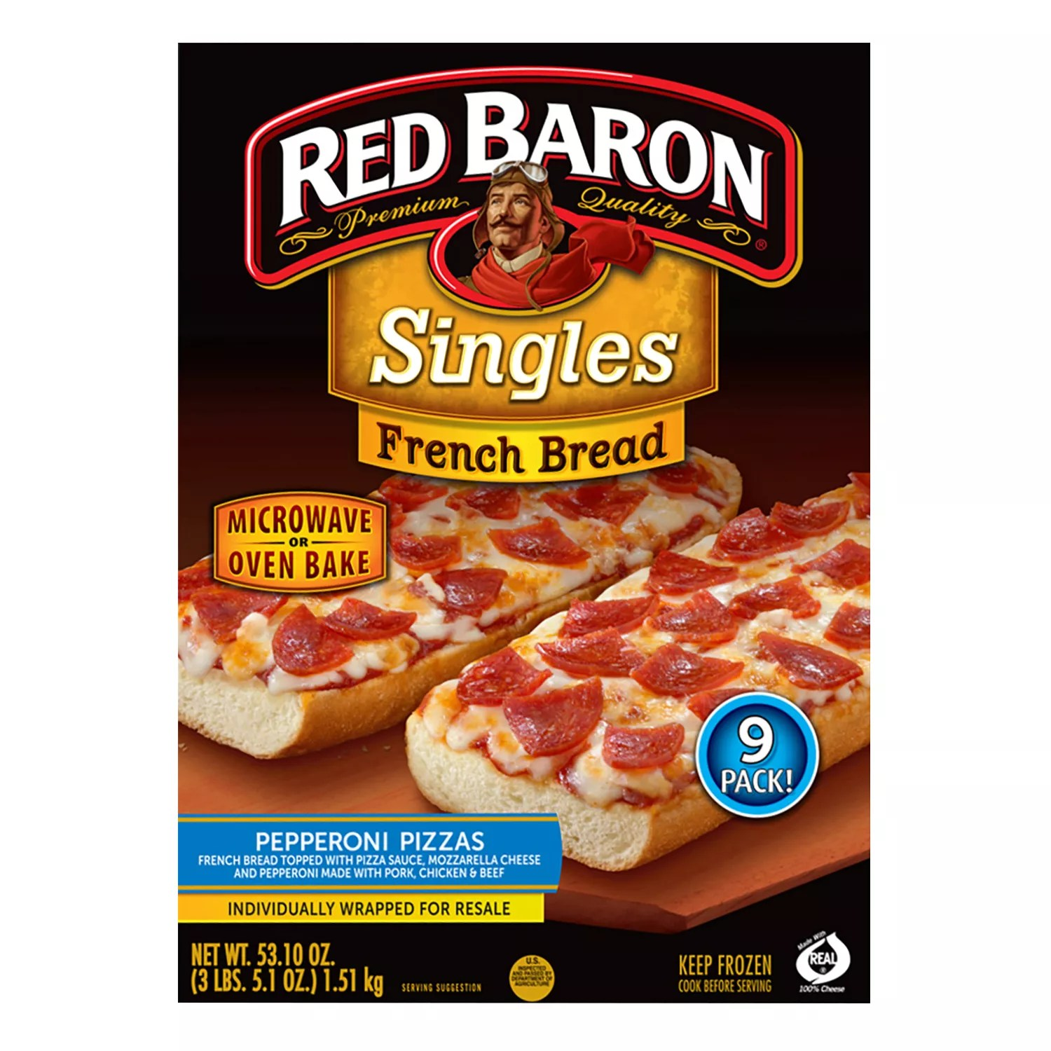 red baron french bread pepperoni pizza 9 ct