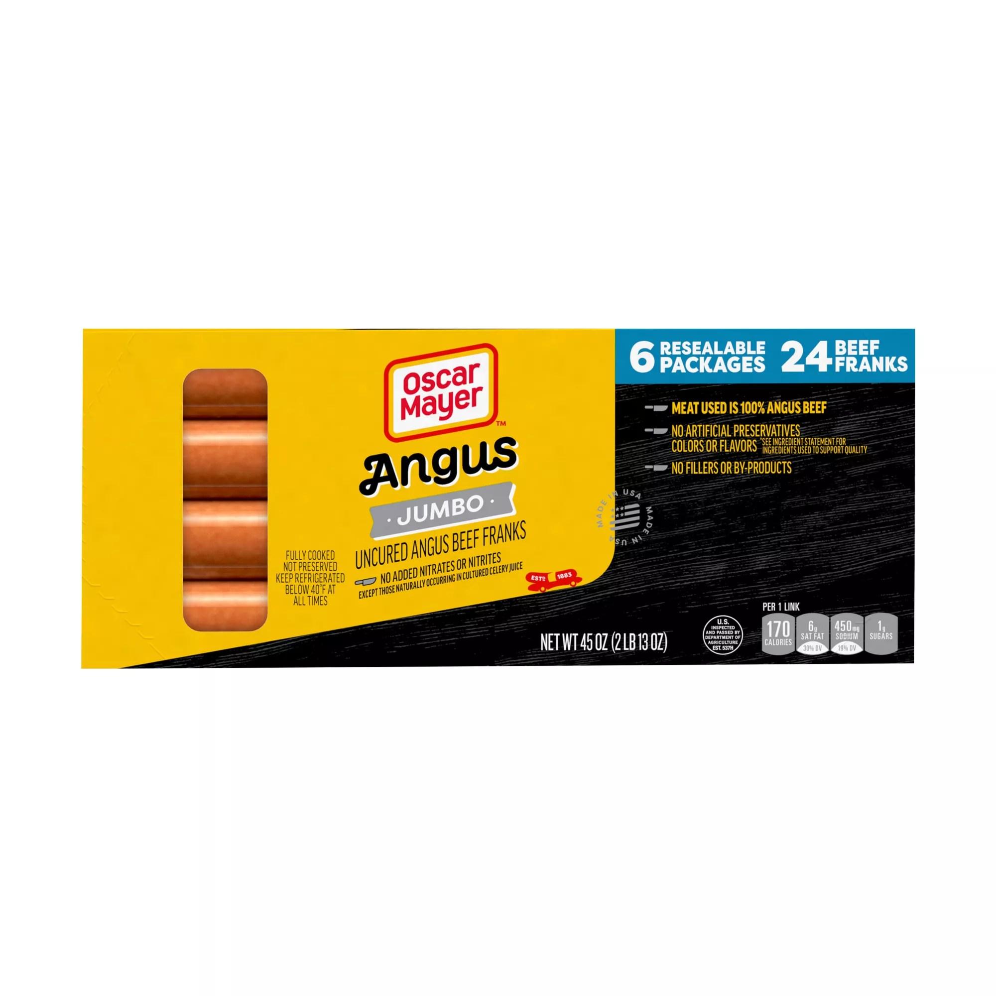 oscar mayer premium beef jumbo hot dogs 6 pk 45 oz