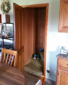 The doorway that leads from the downstairs kitchen to the bedrooms upstairs. It still has the same door, the same carpeting, and the same wood paneling from when I grew up there.