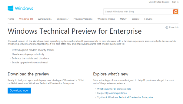 Windows Technical Preview for Enterprise
