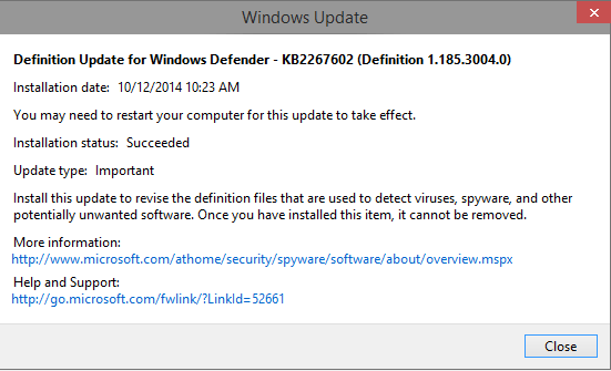 Windows 10 Definition KB2267602