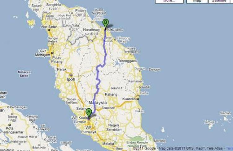 kota bahru kelantan malaysia map
