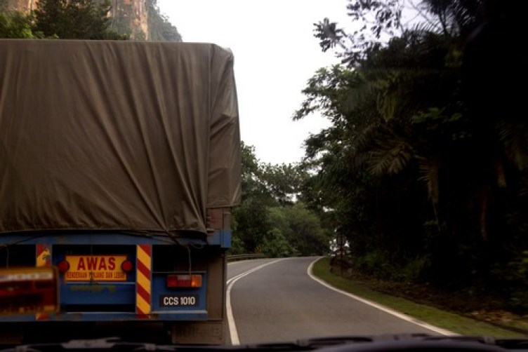 truck corner road