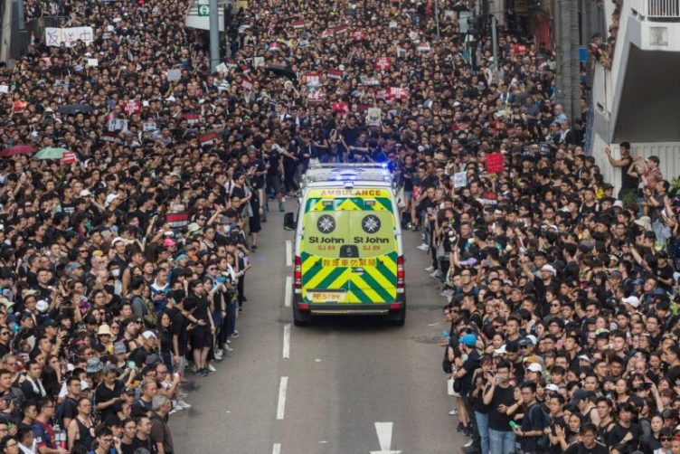 emergency service vehicle ambulance hong kong protest