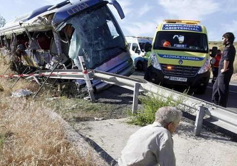 fatal bus wreck in Spain