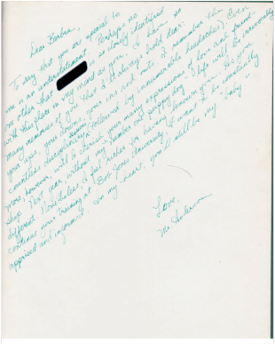 Ted's signature in Barbra's yearbook