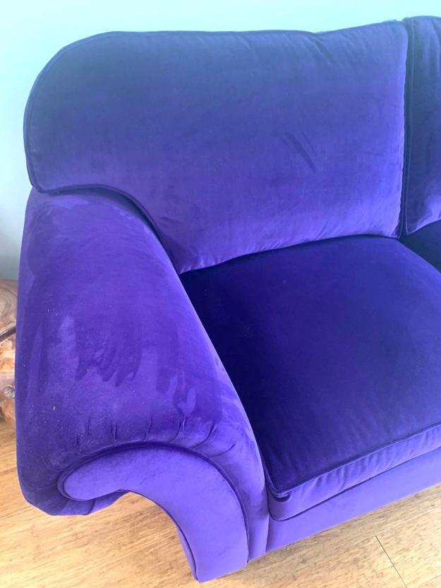 Sofa reupholstered in Linwood Velvet.