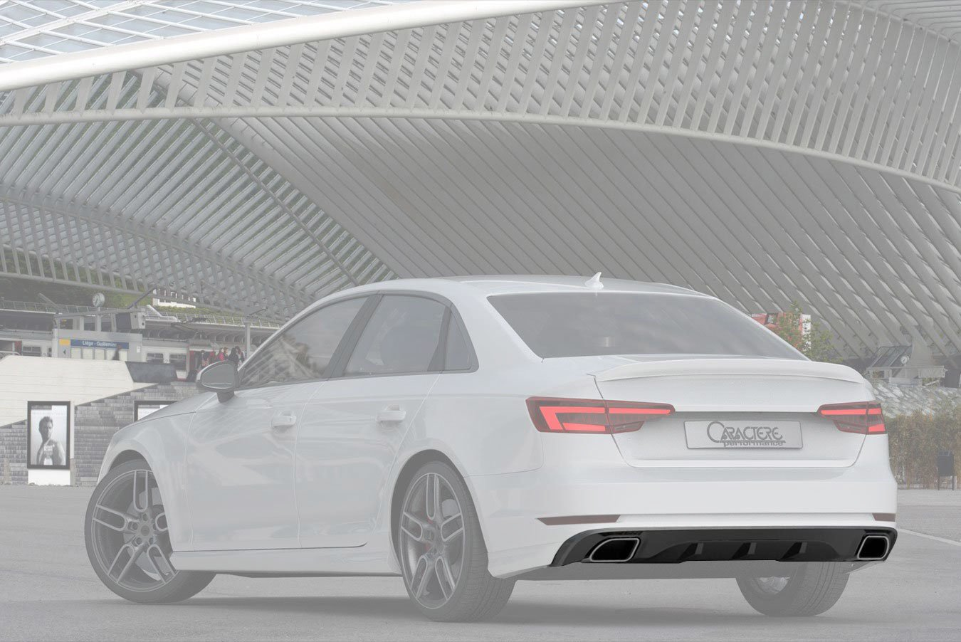 caractere rear diffuser with integrated exhaust tips fits audi a4 b9 2 0 tfsi