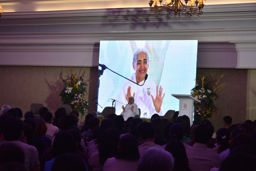 """BK Jayanti Karpalani takes center stage in an online conversation title """"A Celebration: Hearts Open to the World"""" on Tuesday, Dec. 15. Kirpalani was a guest speaker during a public program held in Makati last year."""