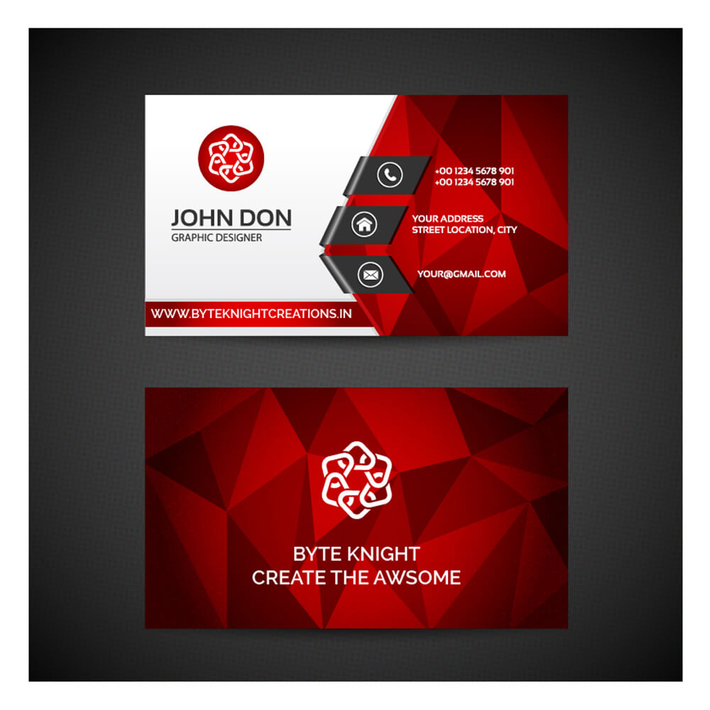 A prepaid card is a great gift for yourself or someone else. Red Polygonal Business card #VC128 - BK Designs