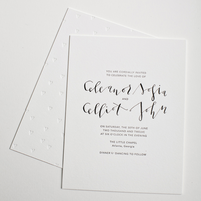 Modern Black White Wedding Invitation