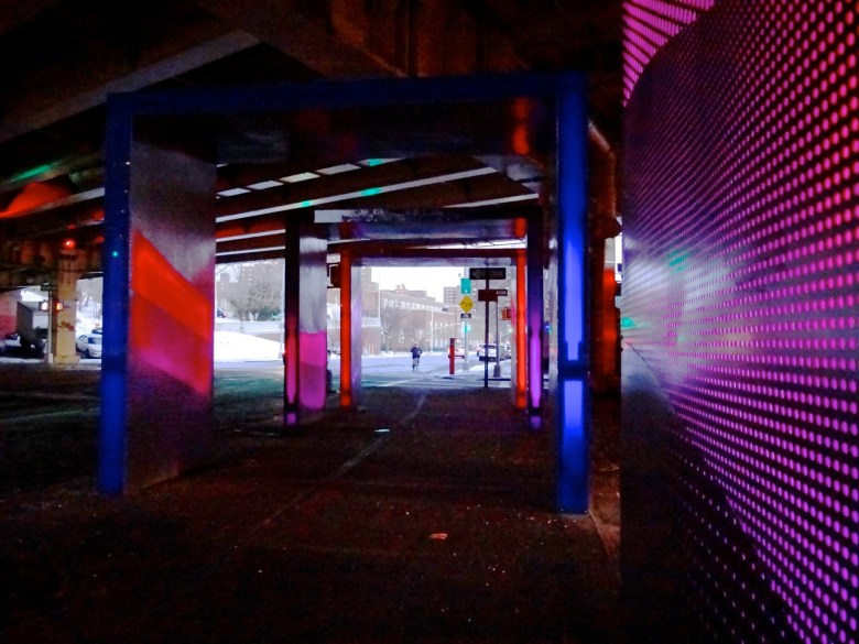 """""""Silent Lights,"""" a brand-new pedestrian walkway-of-lights at Park Avenue and Navy Street underneath the BQE, Photo: BK Reader"""