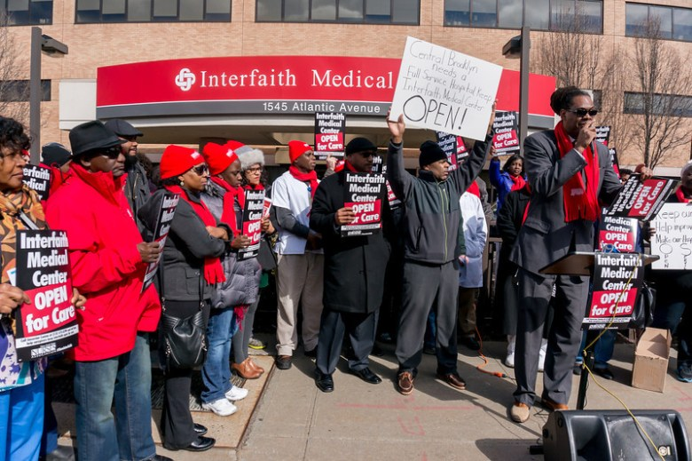56th AD District Leader Rob Cornegy at a protest to keep Interfaith Hospital open