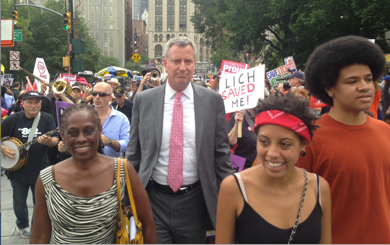 NYC Mayor-elect Bill de Blasio and family at a protest for the closing of Long Island College Hospital Photo: wikimedia