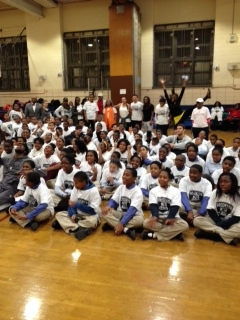 Brooklyn Nets visit P.S. 171 in Bedford-Stuyvesant to take part in the team's Assist Program