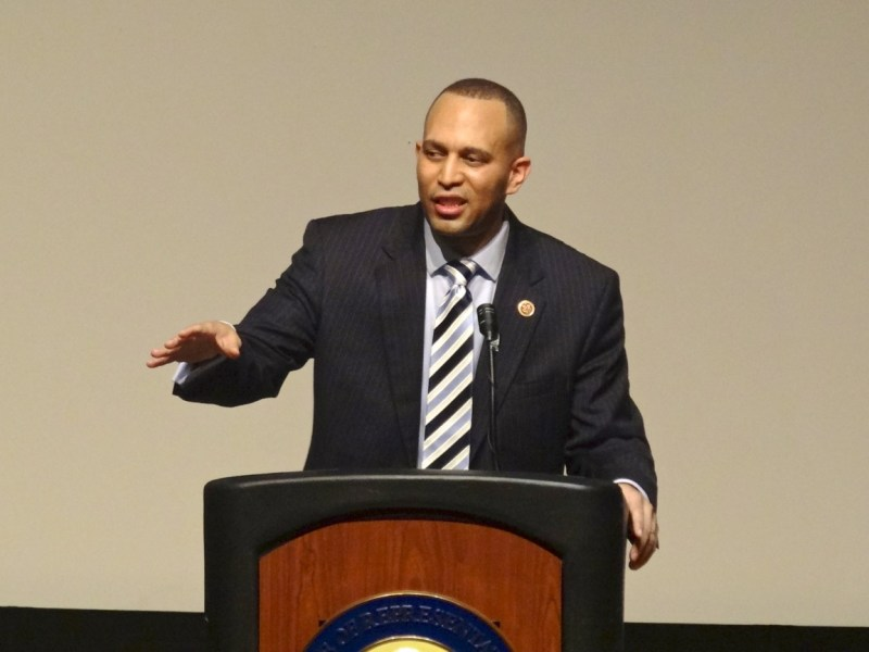 Congressman Hakeem Jeffries (NY-8) addresses his audience at his first State of the District Address since his election, at Boys and Girls High School