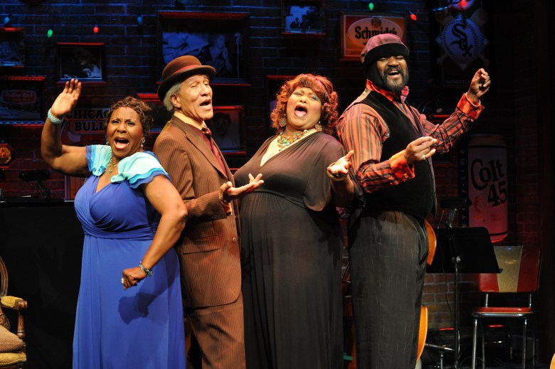 """Sandra Reeves-Phillips, Mississippi Charles Bevel, Felicia Fields and Gregory Porter in Florida Stage's """"Low Down Dirty Blues."""