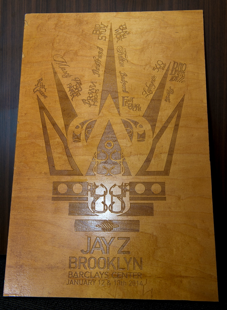 Custom stained wooden piece for JAY Z based on Brooklyn-based artist One-9's signature chess piece collection