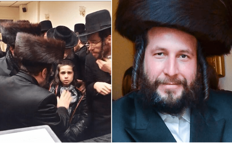 One of eight children (photo on left) is surrounded by elder Satmar as he learns about the murder of his father, Menachem Stark (right)<br />Photo: Courtesy Yaacov Behrman and ELI WOHL/VIN NEWS