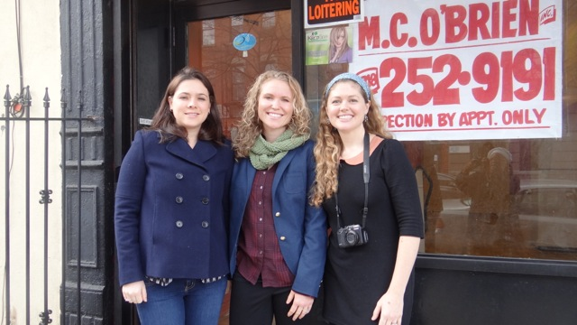 Maria Sigourney, Marie Clevering and Jessica Alonso, outside the storefront which will be transformed into The Stomping Ground