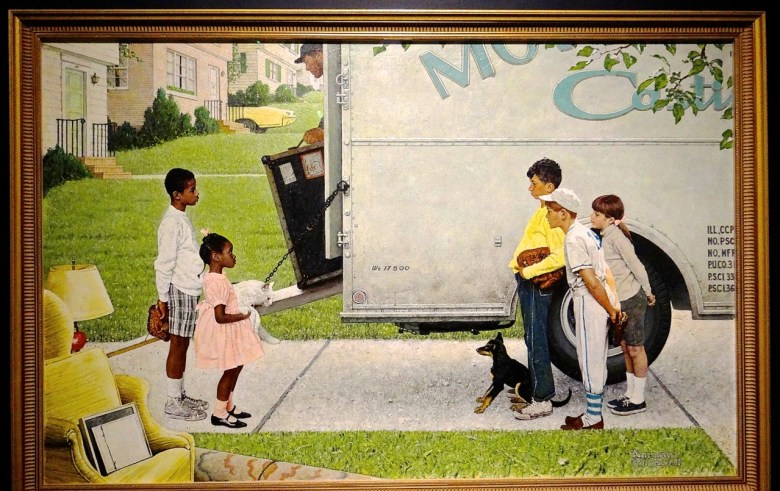 """""""Witness: Art and Civil Rights in the Sixties,"""" at the Brooklyn Museum Norman Rockwell, New Kids in the Neighborhood (Negro in the Suburbs), (1967). Oil on canvas. Norman Rockwell Museum Collection, Stockbridge, Massachusetts. Printed by permission of the Norman Rockwell Family Agency."""