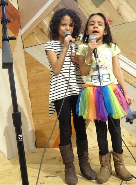 """Two """"Another Protest Song Karaoke"""" participants at BRIC"""