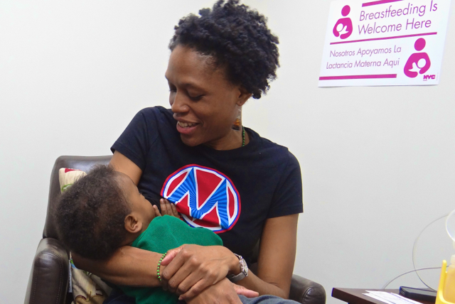 Anayah Sangodele-Ayokais the first to nurse her baby in Bed-Stuy's new lactation room at 1360 Restoration Plaza