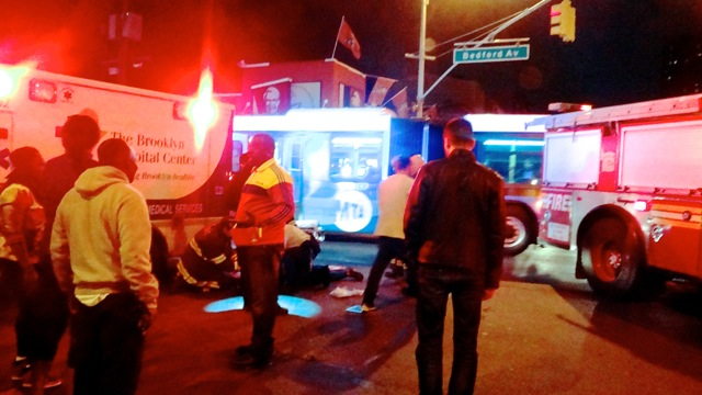 EMS and FDNY treat woman hit by a car at Bedford and Lafayette avenues