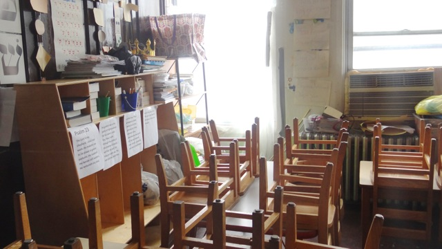 An old classroom in the sanctuary area of B'Nai Adath Kol Beth Yisrael Synagogue