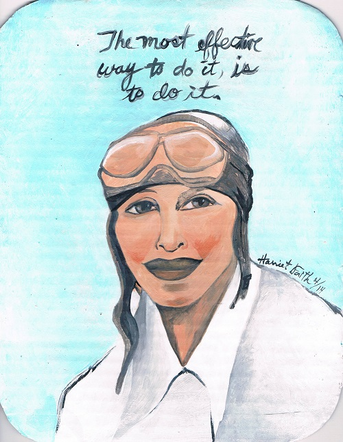 Art, Hand-Lettering, Illustration, Harriet Faith, Painting, Amelia Earhart, Adventure, Get It Done, Record Breaking, Great American, Do It, Flying, Flight, Inspiration, Quotes, Dreams, Pay Attention To Your Dreams
