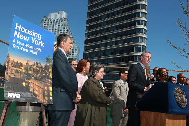 Mayor Bill de Blasio unveils 'Housing New York': A Five-Borough, 10-Year Housing Plan to Protect and Expand Affordability in Brooklyn on Monday, May 5, 2014.  Photos: Ed Reed for the Office of Mayor Bill de Blasio