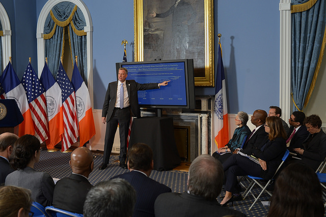 Mayor Bill de Blasio issues Executive Budget for Fiscal Year 2015 at City Hall on Thursday, May 8, 2014.  Photo: Rob Bennett for the Office of Mayor Bill de Blasio