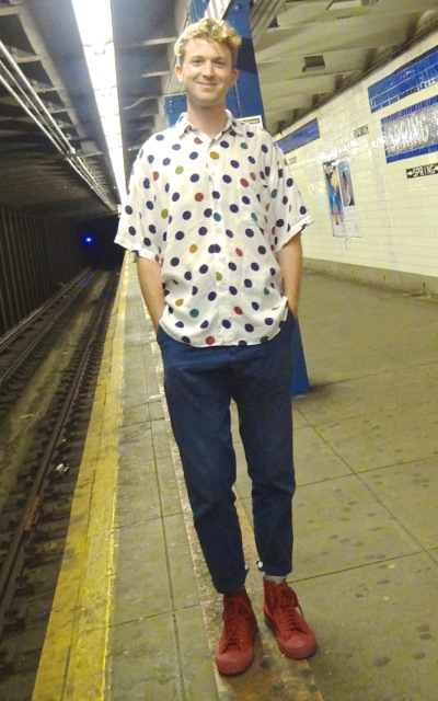 Meet Devin, the sculptor, from Fort Greene, Brooklyn. He was in Manhattan waiting to catch a train back to his Brooklyn art studio! What caught the reader's eye were his polka dots, which you don't see on very many people lately. Plus his cute red sneakers were a great choice.