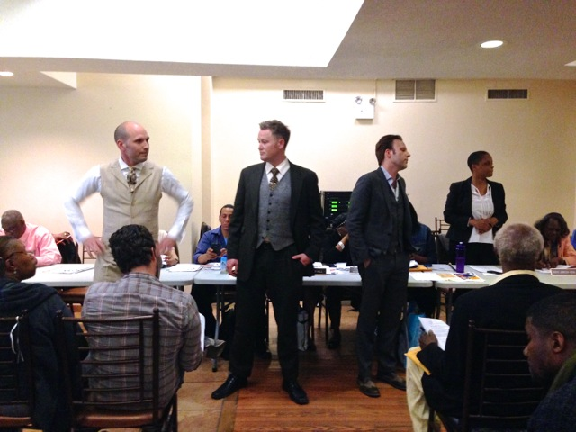 The three owners of Silver Lining Bar, LLC , at the Community Board 3 Community Council Meeting, Restoration Plaza 05/05/14