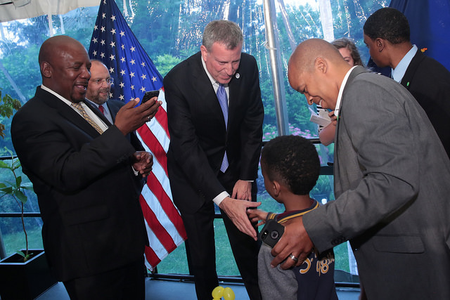 Mayor Bill de Blasio delivers remarks at the Citywide Fatherhood Initiative BBQ at Gracie Mansion on Thursday, June 12 Photo: Ed Reed for the Office of Mayor Bill de Blasio