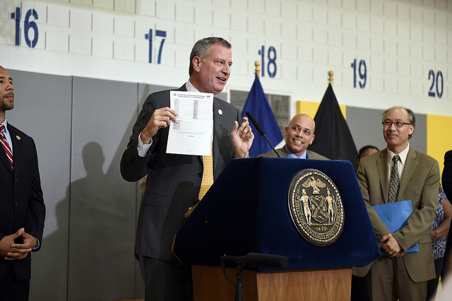 Mayor Bill de Blasio and Schools Chancellor Carmen Fariña announce the selection of the 271 providers that will oversee expanded afterschool for middle school students beginning in September and to encourage middle school youth to take advantage of free summer enrichment programming. Tuesday, June 17, 2014 Credit: Diana Robinson for the Office of Mayor Bill de Blasio