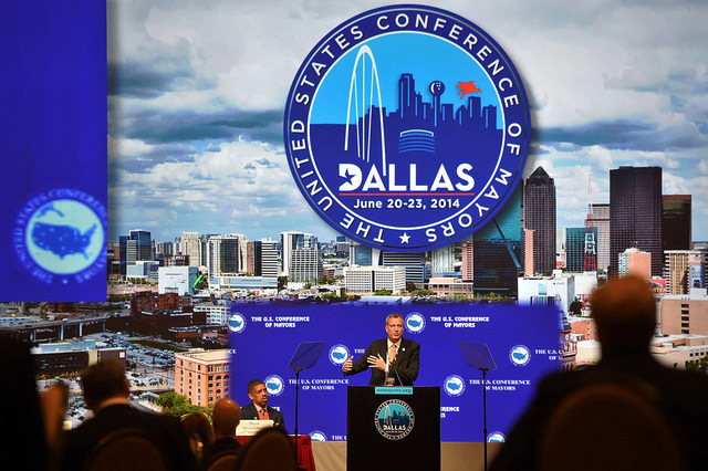 """Mayor Bill de Blasio delivers remarks at U.S. Conference of Mayors Plenary Session, """"Creating Equitable Cities,"""" in Dallas on Sunday, June 22 Photo: Rob Bennett"""