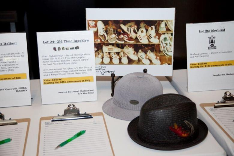 Fulton Street businesses and other donated to the silent auction, Al's Men's Shop, Emily, Moshood, Jamel Shabazz, etc