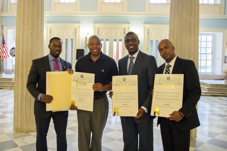 Receiving Citations from Brooklyn Borough President Eric Adams for our commitment to our youth & the work we do within The Do Right, Do Good Scholarship Award.  (L to R) VP Media Director, Frank Gateau, Borough President Eric Adams, Entrepreneur Jean Alerte & Business Consultant Jickael Bazin Photo: Emmanuel Afolabi