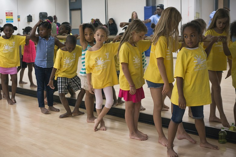 Bed-Stuy YMCA summer camp kids awaiting instruction from Michele Wiles
