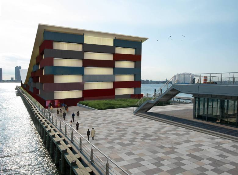 A rendering of the outside of The Wanderlust Museum-- a 45,000 square foot structure that will be easily and organically assembled in ports of call around the world as a transitory display for art.