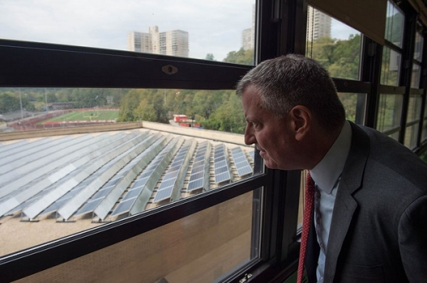 Solar panels installed on rooftop of Kennedy High School in the Bronx Photo: autoworldnews.com