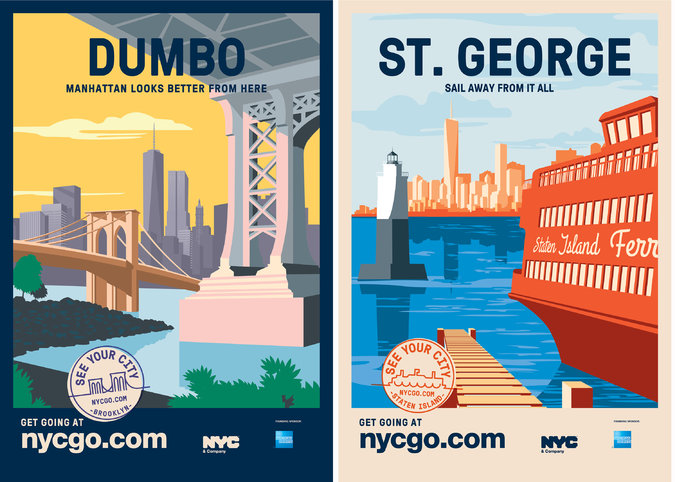 """Posters will appear at bus shelters as part of a new tourism campaign, """"See Your City,"""" encouraging New Yorkers to visit boroughs other than their own Photo: NYC & Company"""