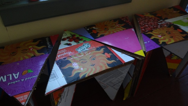 """A coffee table, designed by students from recycled material for """"Century 21: Bed-Stuy Rhapsody in Design: A Reconstruction Urban Remix in the Aesthetic of Funk."""""""