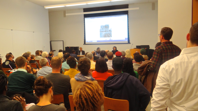 Brooklyn Transitions, a panel on gentrification held at the Brooklyn Public Library, with (l to r)  Suleiman Osman, Sharon Zukin and Isabel Hill