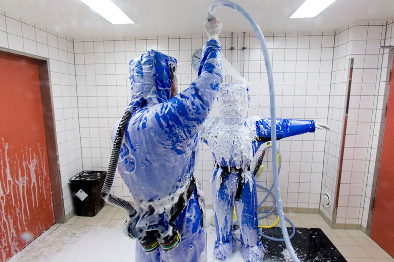 In a disinfection chamber at the quarantine station for patients with infectious diseases Photo: ibtimes.co.uk