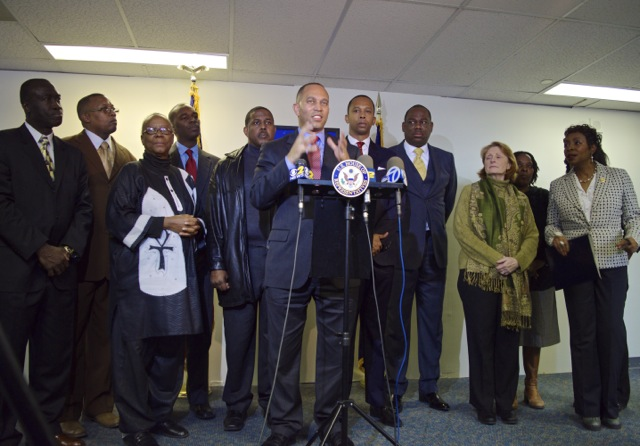 Representatives Hakeem Jeffries and Yvette Clarke are joined by State Senator Kevin Parker, Assemblyman N. Nick Perry, Assemblywoman Latrice Walker, Assemblywoman Rodneyse Bichotte, Assemblywoman Anne Simon, Assemblyman Walter Mosley, Council Member Mathieu Eugene, Bertha Lewis, founder of the Black Institute and others for a press conference addressing President Barack Obama's executive order on immigration reform