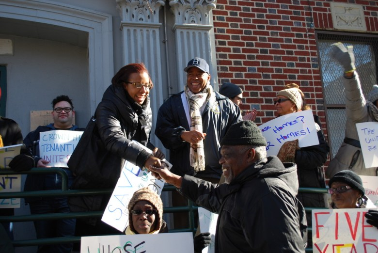 City Councilmember Laurie Cumbo, with Brooklyn Borough President Eric Adams, joins protestors Saturday morning on Schenectady Ave for housing protest Photo: Homesteading Assistance Board