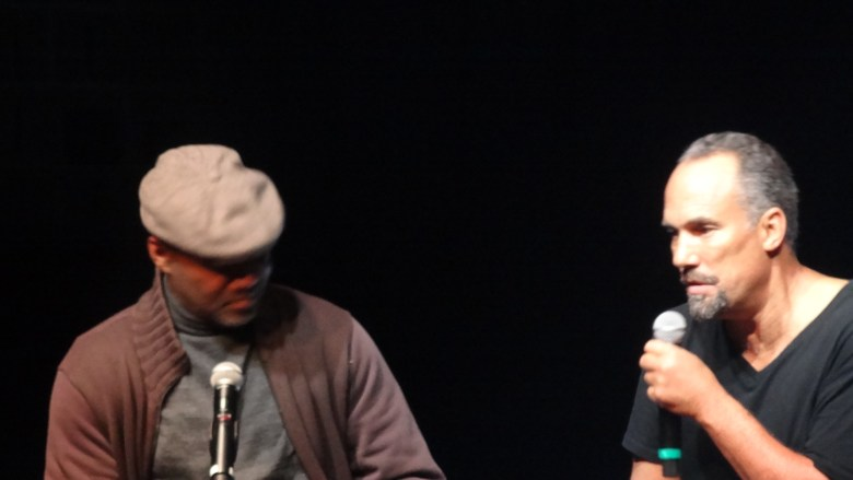 Nelson George conducting a post-show artist talk with Roger Guenveur