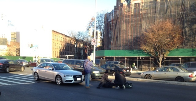 On November 21, 2014, a woman was hit by a car at Washington and Atlantic avenues while walking in the crosswalk She is just one of several pedestrians to have been hit at the intersection.  Photo: Roy Germano.